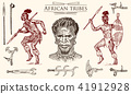 African tribes, portraits of Aborigines in traditional costumes. Australian Warlike black native man 41912928