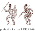 African tribes, Aborigines in traditional costumes. Australian Warlike black native man with spears 41912944