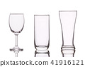 Different of empty clear drinking glass. Studio shot isolated on white 41916121