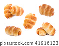 Bread with Sausage. Studio shot isolated on white 41916123