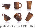 Collection of brown coffee cup made from palm wood. Studio shot isolated on white 41916163