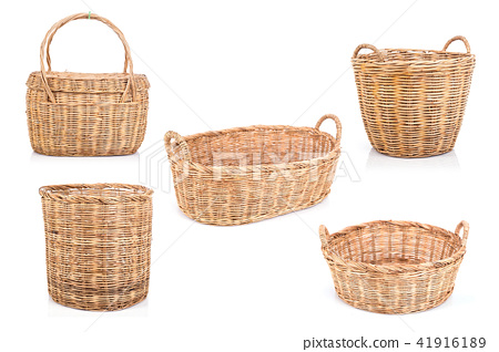 Set of brown handmade rattan basket isolated on white background 41916189