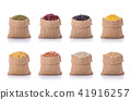 Set of several beans in brown small sack. Studio shot isolated on white background 41916257