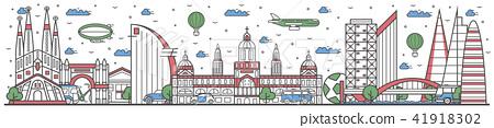 Travel in Barcelona city line flat design banner 41918302