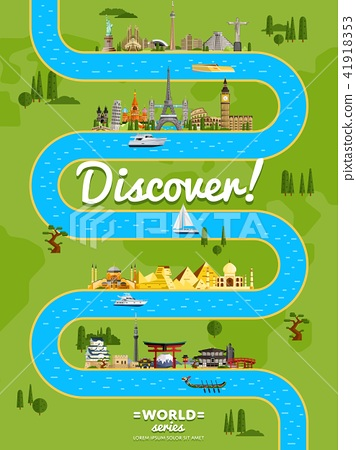 Discover the world poster with famous attractions 41918353