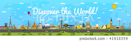 Discover the World poster with famous attractions 41918359