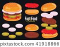 Burger isolated on black background, burger icon. 41918866