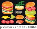 Burger isolated on black background, burger icon. 41918868