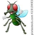 Cute fly animal waving hand 41919493