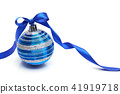 Blue Christmas ball with ribbon bow on white  41919718