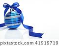 Blue Christmas ball with ribbon bow on white  41919719
