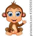 Happy monkey cartoon waving hand 41920563