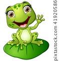 Cartoon frog sitting on the leaf 41920586