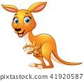 Cartoon mother kangaroo and her baby 41920587
