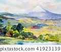 水彩画 水彩 富士山 41923139