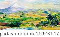 水彩画 水彩 富士山 41923147