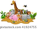 Cartoon wild animals background 41924755