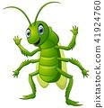 Happy grasshopper cartoon waving hand 41924760