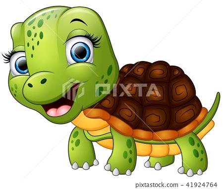 Happy turtle cartoon isolated on white background 41924764