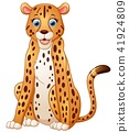Happy leopard cartoon sitting 41924809