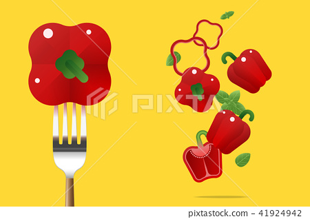 Fresh red bell peppers background 41924942