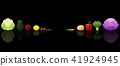 Set of fresh vegetables on dark background 41924945