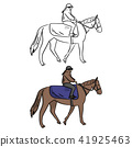 female jockey on horse vector illustration  41925463