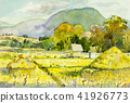 Watercolor landscape painting  of cornfield. 41926773
