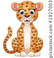Happy leopard cartoon sitting 41927003
