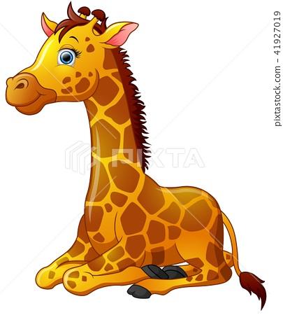 Happy giraffe cartoon sitting 41927019