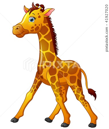 Happy giraffe cartoon isolated on white background 41927020