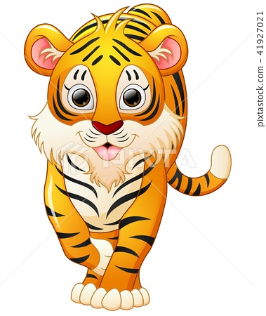 Cute tiger cartoon isolated on white background 41927021