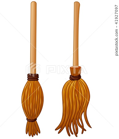 Witch broom cartoon isolated on white background 41927097