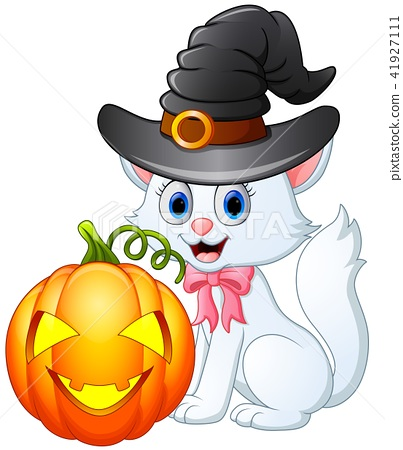 Cat cartoon with a witch hat holding pumpkin 41927111