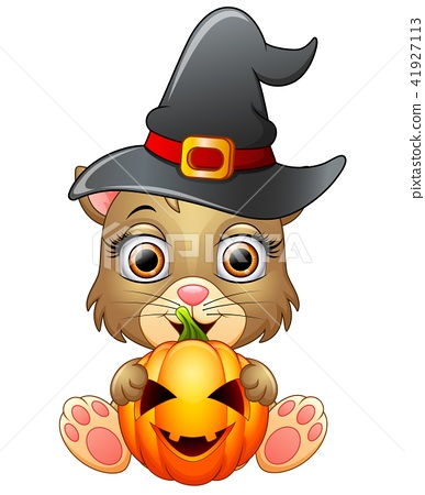 Cat cartoon with a witch hat holding pumpkin 41927113