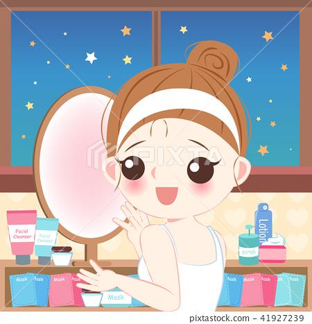 Cartoon Skin Care Woman Stock Illustration 41927239 Pixta
