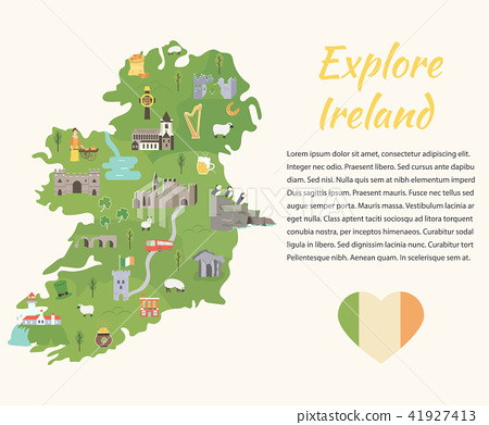 Irish map with symbols of Ireland, destinations - Stock ... on map of netherlands, map of european countries, map of japan, map of britain, map of british isles, map of dublin, map of skellig islands, map of denmark, map of united kingdom, map of ring of kerry, map of united states, map of prince edward island, map of eastern hemisphere, map of yugoslavia, map of northeast us, map of sweden, map of scotland, map of london, map of hong kong, map of philippines,