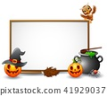 Halloween sign with owl, spider, and pumpkin 41929037