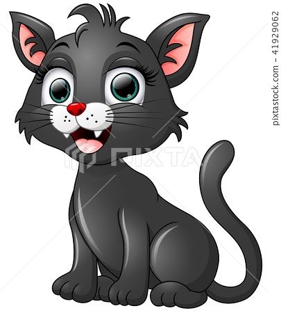 Black cat cartoon isolated on white background 41929062