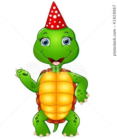 Turtle cartoon celebrating birthday 41929067