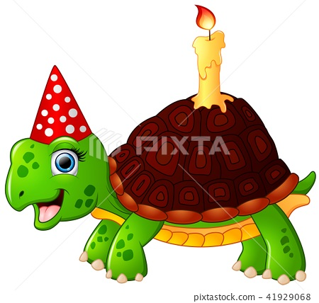 Turtle cartoon celebrating birthday 41929068