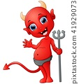 Red devil cartoon holding trident 41929073