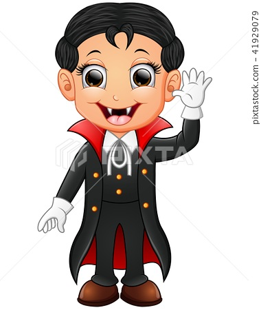 Happy kid wearing dracula costume 41929079