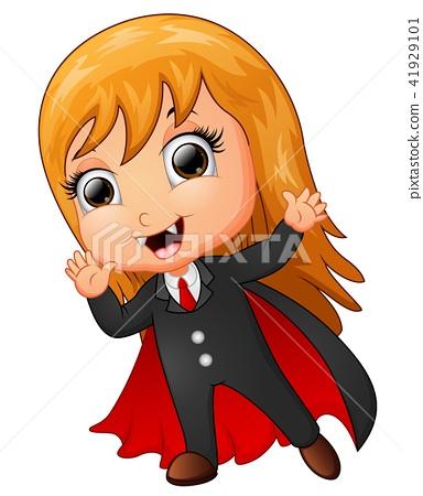 Happy Dracula cartoon waving hand 41929101