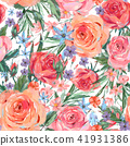 Vintage seamless pattern wuth pink roses 41931386