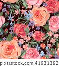 Vintage seamless pattern wuth pink roses 41931392