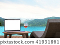 Blank laptop monitor and pool bed 3d render 41931861