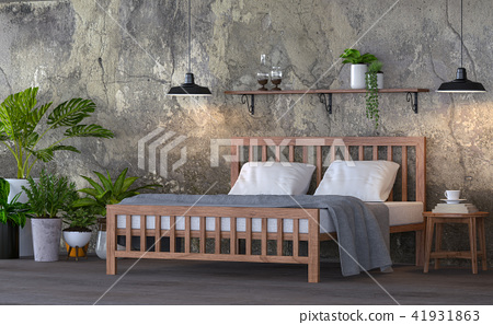 Loft style bedroom 3d render 41931863