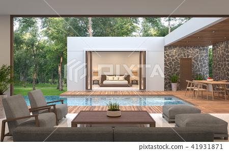 Modern contemporary pool villa 3d render 41931871