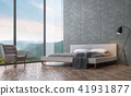 Loft style bedroom with mountain view 3D render 41931877